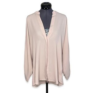 Violet + Claire Sheer Blush Tunic Blouse V Top